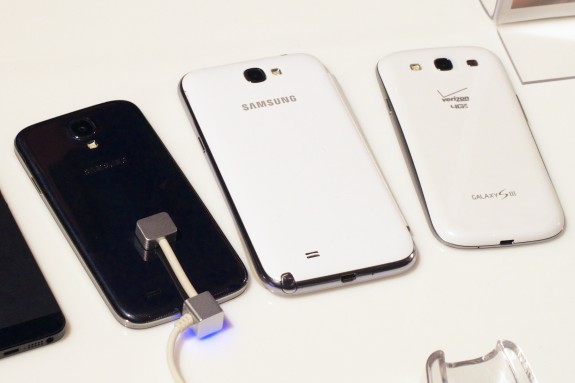 The Samsung Galaxy S4 is thinner and lighter than the Galaxy S3.