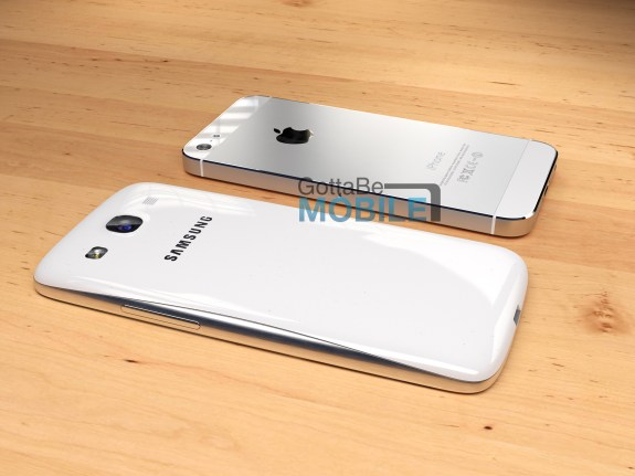 Our Galaxy S4 concept next to an iPhone 5.