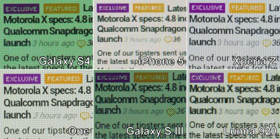 This image shows the Samsung Galaxy S4 screen compared to the best smartphones on the market.