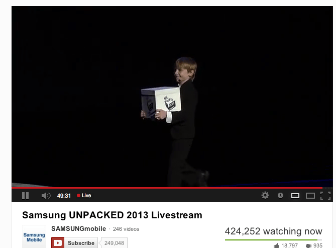 Hundreds of Thousands Watch Samsung Galaxy S4 Launch Live on