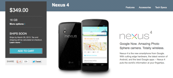 The Nexus 16GB has joined the Nexus 8GB with exact shipping times.