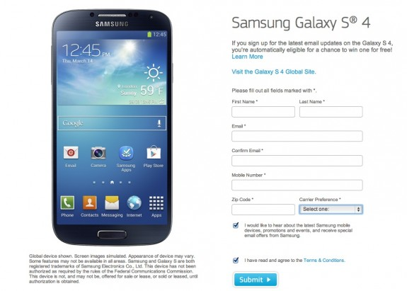 Samsung is giving away 52 Samsung Galaxy S4 devices ahead of the official U.S. release.