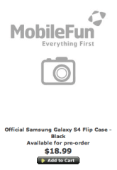 Listing for the official Samsung Galaxy S4 flip cover.