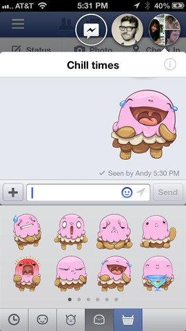 Facebook for iPhone Chat Heads and stickers