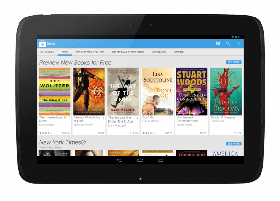 Google Play Store 4.0 running on the Nexus 10 tablet.