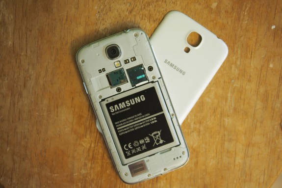 Removing the rear polycarbonate plastic battery cover and you have access to the battery, micro SD memory card slot, and micro SIM card. On Sprint, the micro SIM is for global roaming on GSM networks and the SIM card isn't tied to the CDMA/EVDO/LTE service used domestically.