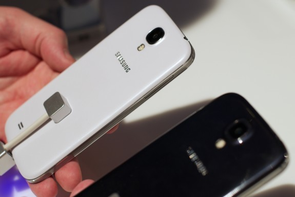 The Galaxy S4 features a slim, lightweight design.