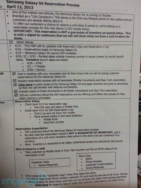 Alleged Staples document showing Samsung Galaxy S4 release dates and details.