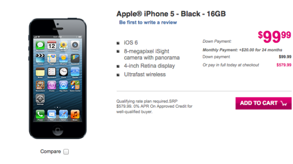 The T-Mobile iPhone 5 has tricky pricing.