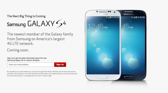 The Galaxy S4 will hit Verizon on May 30th.