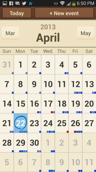 The Calendar app is one app that was customized for Easy Mode. Here, in Easy Mode, it's simplified to remove clutter and focus on the basics. You won't see appointment previews, but it makes things less intimidating.