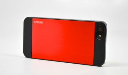 The Spigen Saturn iPhone 5 case maintains the iPhone's two tone look and offers a red accent option.