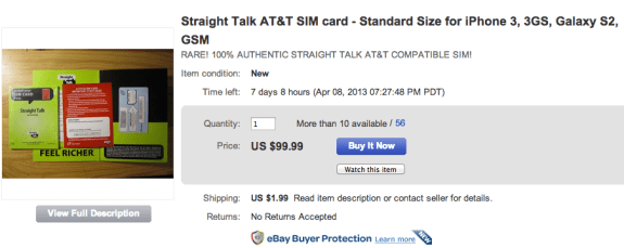 Shoppers can buy a Straight Talk AT&T SIM Card on eBay for a high price.