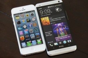 The iPhone 5 runs iOS 6 while the HTC One is on Android 4.1.2 with HTC Sense 5.