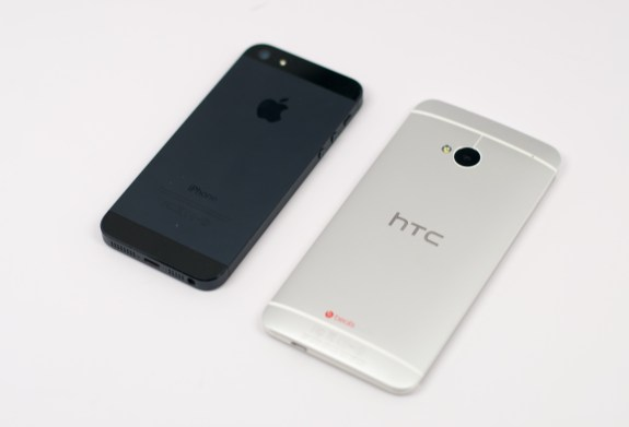 The HTC One and iPhone 5 are both made of aluminum and glass, leaving plastic to the competition.