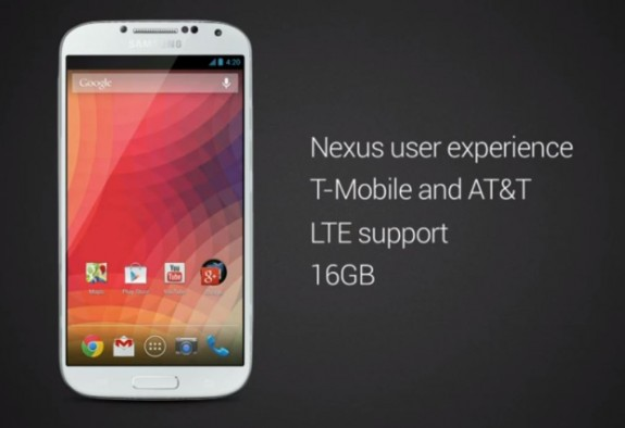 The Galaxy S4 Nexus comes with 16GB of storage.