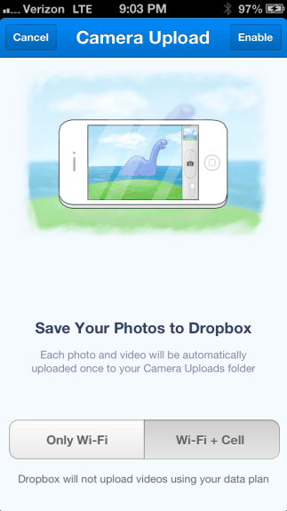 Dropbox iOS camera upload