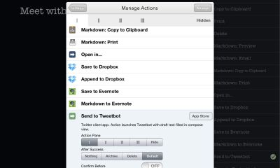drafts for ipad actions