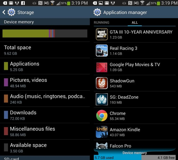 The Galaxy S4 and HTC One both have storage limitations.