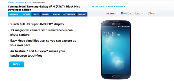 The Galaxy S4 Developer Edition is hitting AT&T and Verizon.