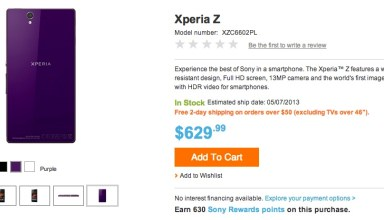 The Sony Xperia Z is available in the U.S. Sony store.