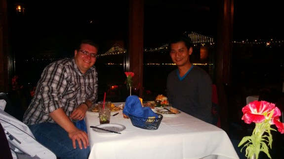 Josh Smith and myself at dinner post-Google I/O. With the use of Xenon flash, skin tones came out orange and image isn't as bright as it should have been given the Xenon technology.