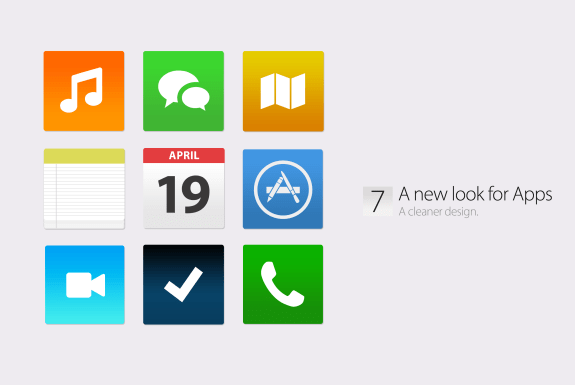 A new look for Apple apps in iOS 7 in this concept.
