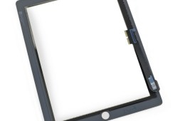 Compare the leaked photo to this iPad 4 front panel which features larger bezels and a connection on the side.