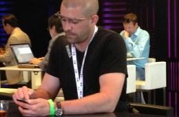 Glass user at a hotel bar in San Francisco, California for Google I/O 2013