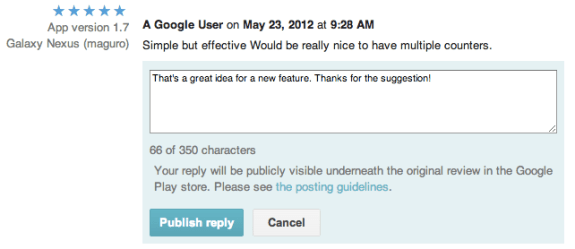 Developer review replies as they appear in the Google Play App Store.