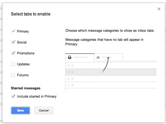 Step 2: Choose the new Gmail Inbox tabs you want to use.
