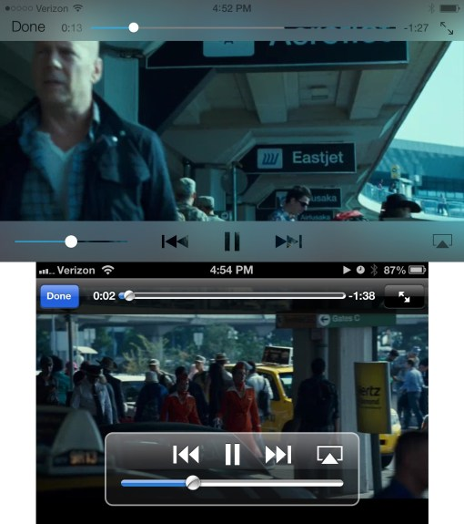 iOS 7 vs. iOS 6 video app, showing shift to keeping important controls in reach.