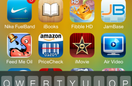Spotlight is now accessed from the top of the home screen.
