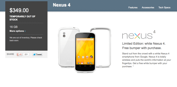 The white Nexus 4 has stumbled out of the gates, just like the original Nexus 4.