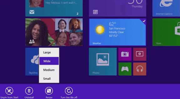 Change the size of Live Tiles in Windows 8.1.