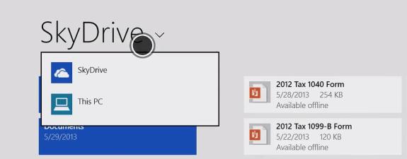 In Windows 8.1 SkyDrive is built-in.