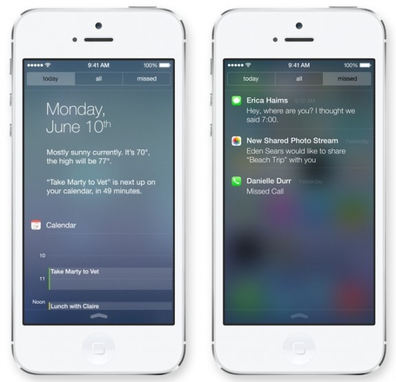The iOS 7 Notification center is on the lock screen.