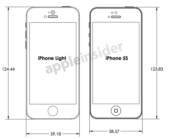 Iphone 5s blueprints show what case makers think apple is planning iphone 5s blueprint shows the design and dimensions one case maker expects from apple malvernweather Gallery