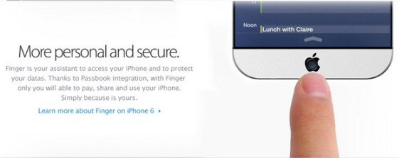 In the iPhone 6 concept above we see a fingerprint sensor built-in to a new home button.