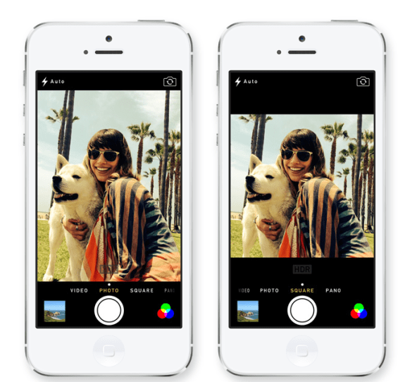 A new camera app comes with iOS 7, with several new features.
