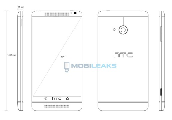 The HTC One Max is said to be a larger HTC One. This is an alleged sketch of the device.