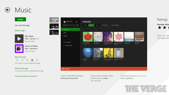 The updated Xbox Music app for Windows 8