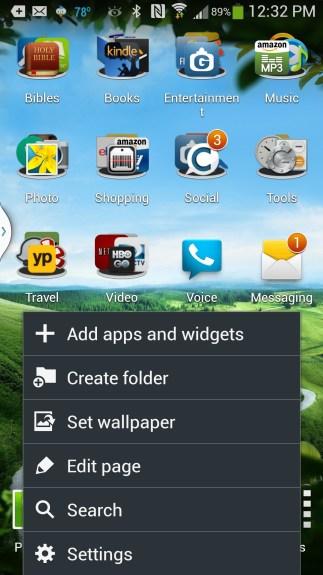 gs4 home screen menu