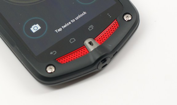 Two front-facing speakers sit at the bottom of the Commando 4G LTE.