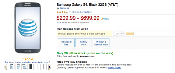 The AT&T Galaxy S4 32GB is cheaper than Verizon's version.
