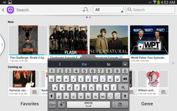 One of the few keyboard views available on the Galaxy Tab 3 8.0 through TouchWiz