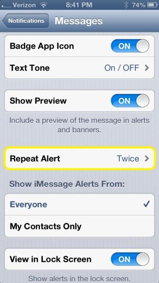 Tap Repeat Alert