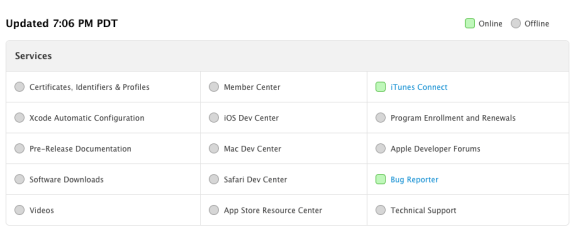Apple's new Developer Status page shows the steps needed to bring operations online and facilitate an iOS 7 beta 4 release.