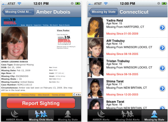 The free iPhone Amber Alert app offers more information.