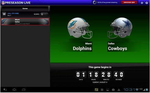 Android tablets like the Nexus 7 work with the 2013 NFL Preseason Live app.